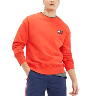 Tommy Jeans Flame Scarlet Pure Cotton Badge Sweatshirt