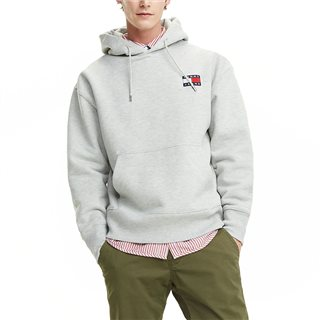 Tommy Jeans Light Grey Heather Pure Cotton Badge Hoody