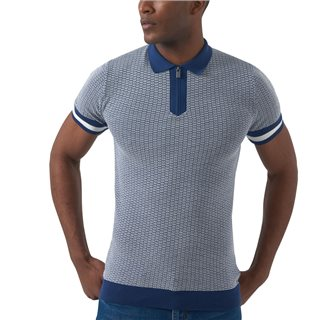 Remus Uomo Clothing Dark Blue Knit Short Sleeve Polo
