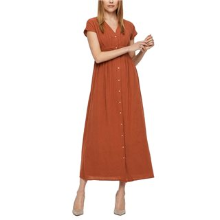 Vero Moda Mahogany Button Maxi Dress