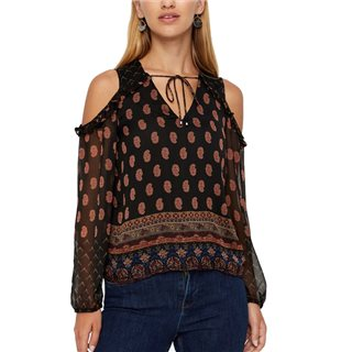 Vero Moda Black Printed Cold Shoulder Top