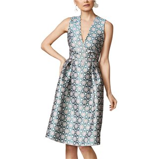 Closet London Teal Geometric Jacquard Pleated Wrap Dress