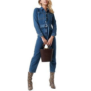 NA-KD Blue Waist Belt Denim Jumpsuit