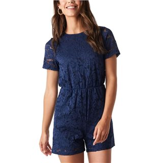 NA-KD Blue Elastic Waist Lace Playsuit