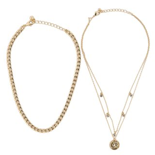 NA-KD Gold Sparkling Detail Chain Necklace