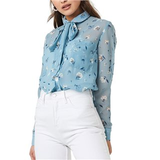 NA-KD Blue Floral Print Sheer Pussy Bow Blouse