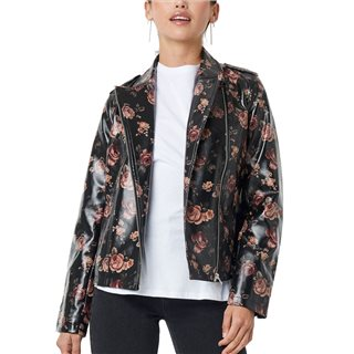 NA-KD Black Rose Printed Pu Short Jacket