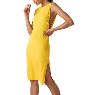 NA-KD Yellow Deep V Back Relaxed Dress