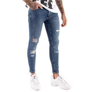 11 Degrees Mid Blue Wash Distressed Jeans Skinny Fit