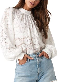 NA-KD White High Collar Flower Lace Blouse