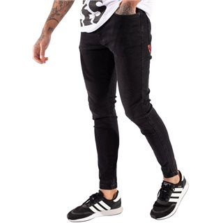 11 Degrees Jet Black Wash Stretch Skinny Jeans