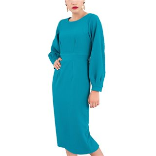 Closet London Blue Pleated Long Sleeve Midi Dress With Tie