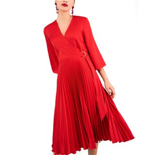 Closet London Red Pleated Wrap Dress With Asymmetrical Tie