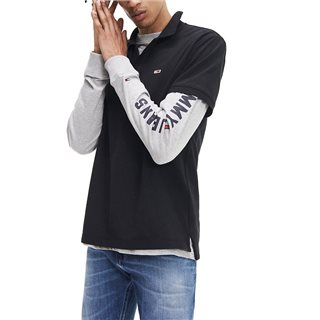 Tommy Jeans Black Stretch Cotton Polo