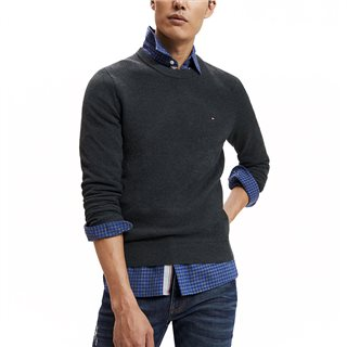 Tommy Hilfiger Charcoal Heather Textured Crew Neck Jumper
