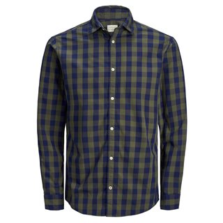 Jack & Jones Essentials Olive Night Gingham Check Shirt