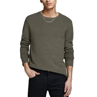 Jack & Jones Essentials Olive Night Plain Knitted Pullover