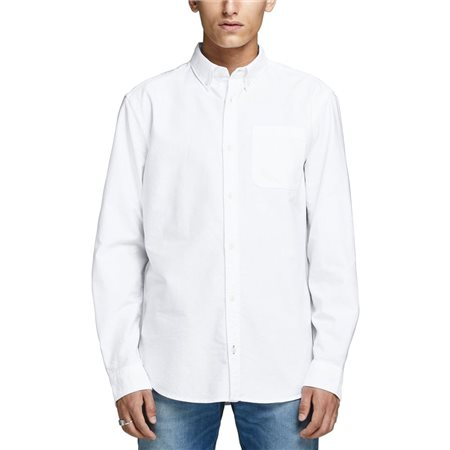 Jack & Jones Essentials White Slim Fit Longsleeve Oxford Shirt  - Click to view a larger image