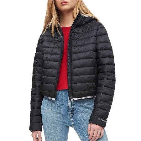 Calvin Klein Black Hooded Logo Trim Puffer Jacket  - Click to view a larger image
