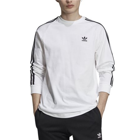 adidas Originals White 3-Stripes Long-Sleeve Top  - Click to view a larger image
