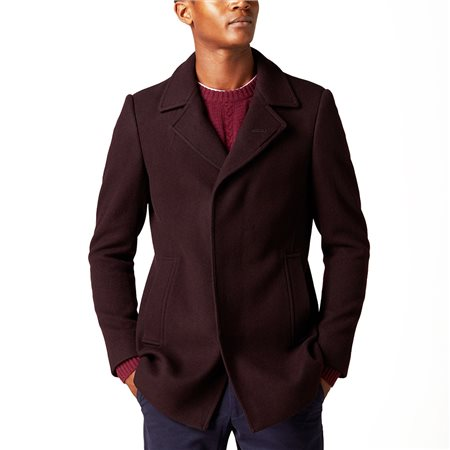 Remus Uomo Burgundy Lohmann Tapered Fit Wool Overcoat  - Click to view a larger image