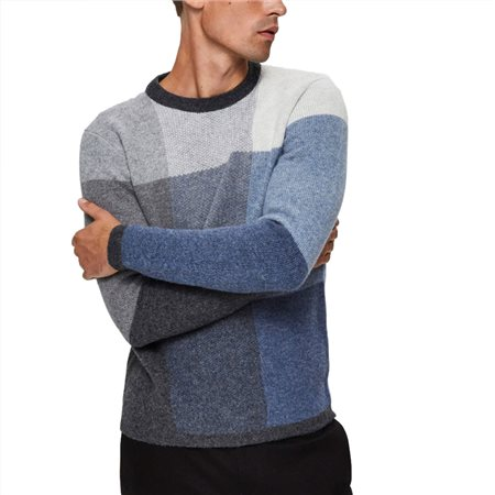 Selected Homme Light Blue Pixel Crew Neck Sweater  - Click to view a larger image
