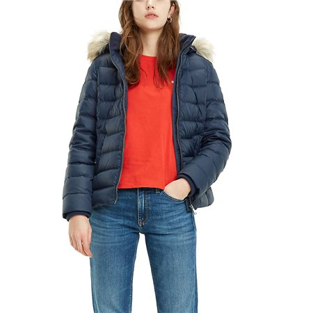 Tommy Hilfiger Womens Black Iris Essential Hooded Down Jacket  - Click to view a larger image