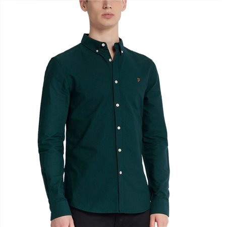 Farah Bright Emerald Brewer Slim Fit Oxford Shirt  - Click to view a larger image
