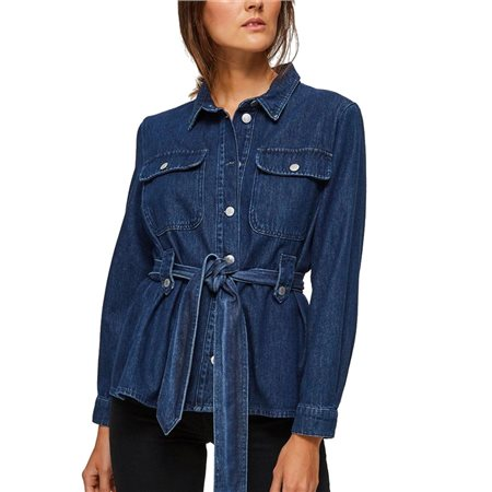 Selected Femme Dark Blue Dana Belted Denim Jacket  - Click to view a larger image