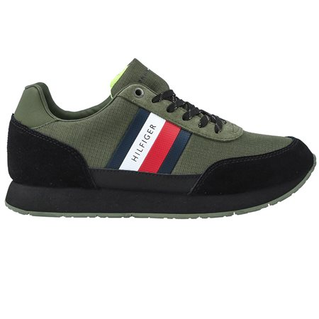 Army Green Mixed Texture Suede Trainers