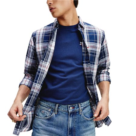 Tommy Jeans Twilight Navy Essential Plaid Check Shirt  - Click to view a larger image