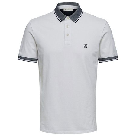 Selected Homme Bright White Organic Cotton Polo Shirt  - Click to view a larger image