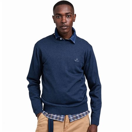 Gant Dark Jeans Blue Melange Classic Cotton Crew Sweater  - Click to view a larger image