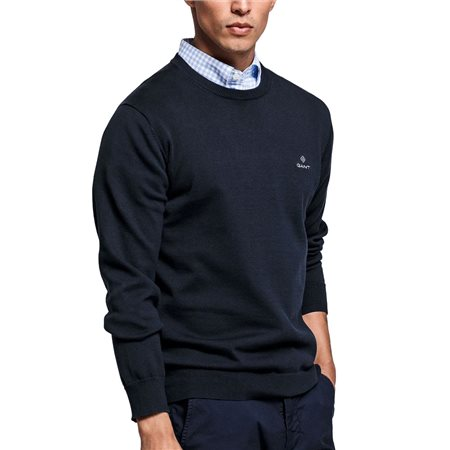 Gant Evening Blue Classic Cotton Crew Sweater  - Click to view a larger image
