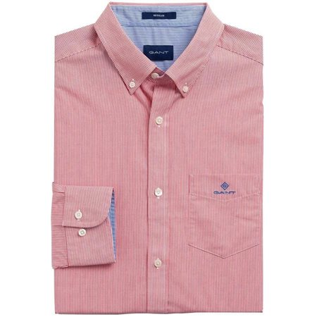 Gant Bright Red Regular Fit Micro Stripe Broadcloth Shirt  - Click to view a larger image