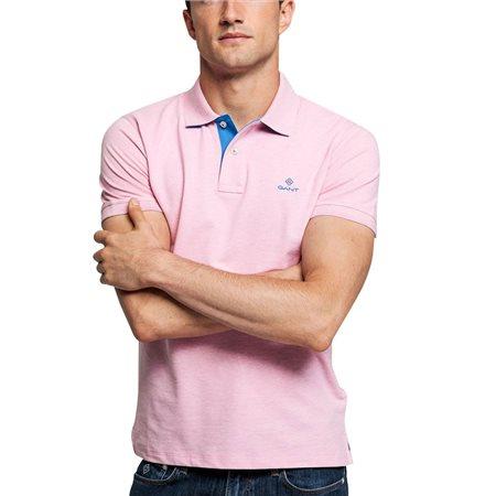 Gant Light Pink Contrast Collar Piqué Rugger  - Click to view a larger image