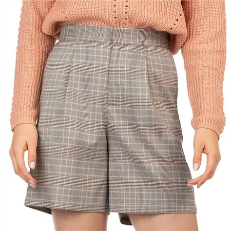Tiffosi Brown Check High Waisted Plaid Shorts  - Click to view a larger image