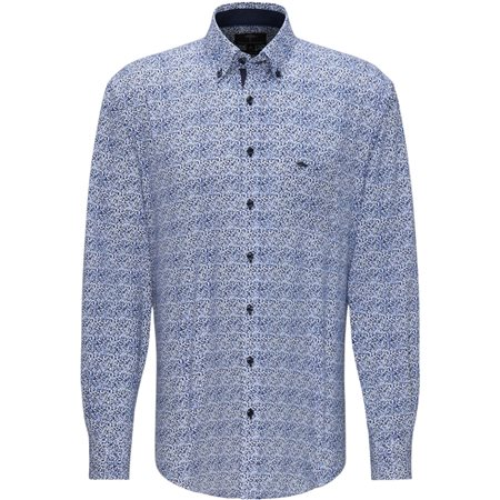 Fynch Hatton Navy Blue Long Sleeve Dot Print Shirt  - Click to view a larger image