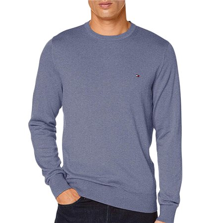 Tommy Hilfiger Faded Indigo Heather Organic Cotton Silk Crew Neck  - Click to view a larger image