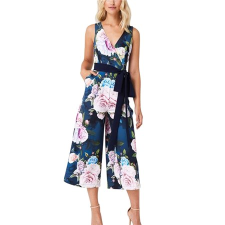 Paperdolls Blue Beaufort Rose Floral Midaxi Culotte Jumpsuit  - Click to view a larger image
