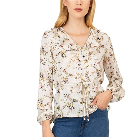 Tiffosi Beige Melissa Flower Blouse  - Click to view a larger image