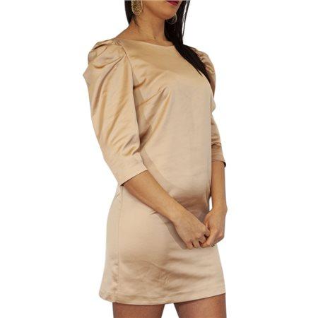 Manuela Riva Gold Satin Midi Dress  - Click to view a larger image