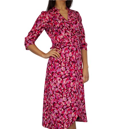 Kate & Pippa Pink Sienna Wrap Midi Dress  - Click to view a larger image