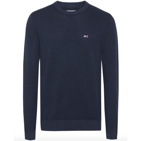 Tommy Jeans Navy Pure Cotton Lightweight Sweater  - Click to view a larger image