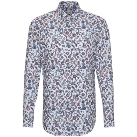 Jacques Britt White/Blue Paisley All Over Print Shirt  - Click to view a larger image