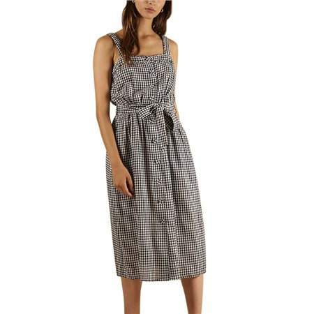 FRNCH Paris Blue Augstina Check Midi Dress  - Click to view a larger image