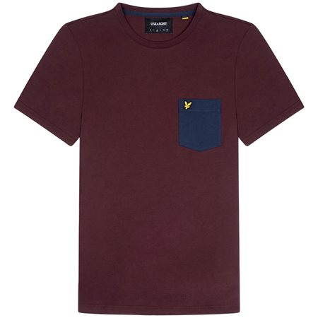 Lyle & Scott Burgundy Contrast Pocket T-Shirt  - Click to view a larger image