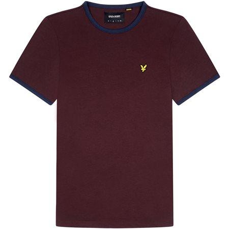 Lyle & Scott Burgandy Ringer T-Shirt  - Click to view a larger image