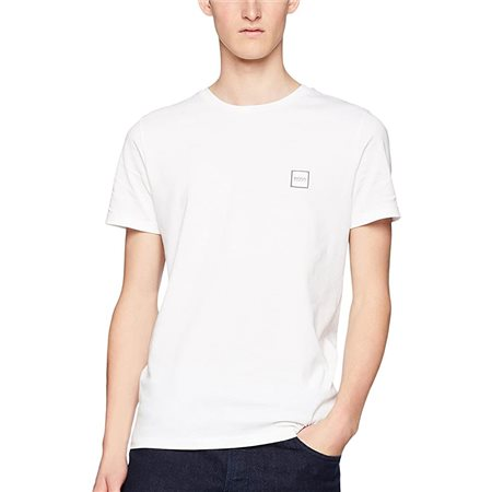 BOSS White Single Jersey Cotton T-Shirt  - Click to view a larger image