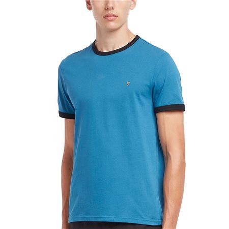 Farah Blue Groves Slim Fit Ringer T-Shirt  - Click to view a larger image